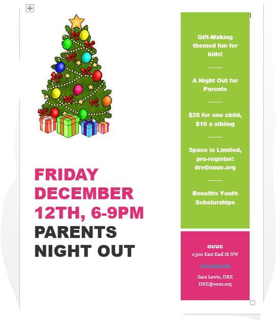 Parents Night Out Poster December 2